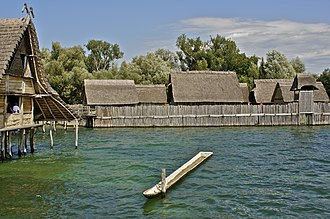 Urnfield culture - Reconstruction of a pile dwelling settlement at Unteruhldingen on Lake Constance in southern Germany