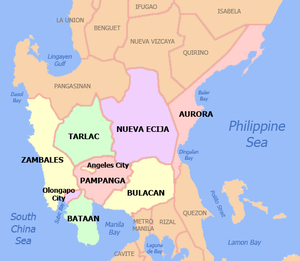Political map of Central Luzon, Philippines. S...