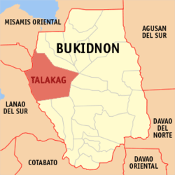 Map of Bukidnon with Talakag highlighted