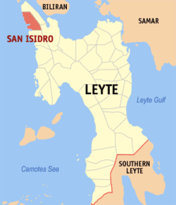Map of Leyte with San Isidro highlighted