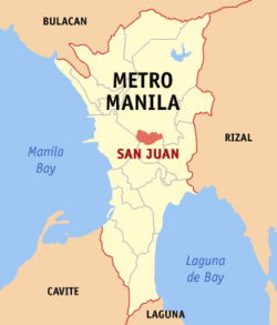Map of Metro Manila showing the location of San Juan.
