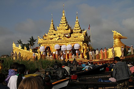 The ceremonial barge used during the annual Phaung Daw U Pagoda festival in Myanmar uses a figurehead of a karaweik, a mythical bird.