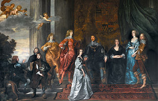 Portrait of Philip Herbert,4th Earl of Pembroke, his second wife Lady Anne Clifford,14th Baroness of Clifford and his surviving children by his first marriage and Lady Mary Villiers