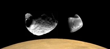 Phobos Deimos Over Mars