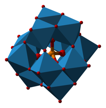 Keggin structure of the phosphomolybdate anion (P[Mo12O40] ), an example of a polyoxometalate Phosphotungstate-3D-polyhedra.png