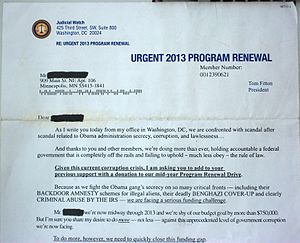 Judicial Watch - Photo of a Judicial Watch letter