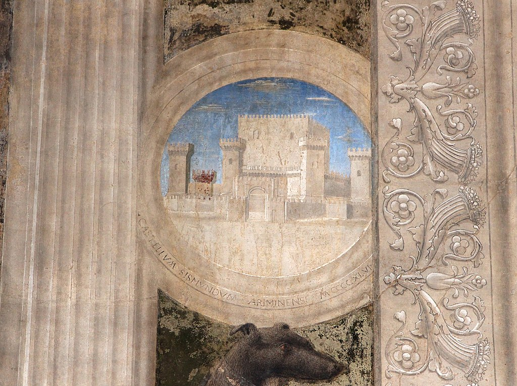 Piero della francesca, Sigismondo Pandolfo Malatesta in preghiera davanti a san Sigismondo, 1451, particolare del Castel Sismondo