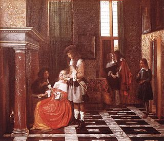 <i>Card Players in a Rich Interior</i> painting by Pieter de Hooch