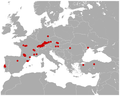 Pika Prolagus oeningensis fossil distribution map.png