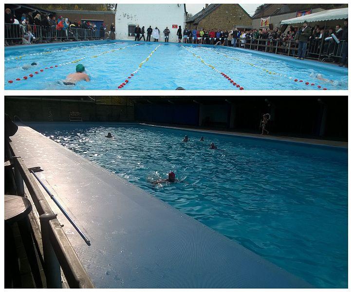 """Chaque année au mois de novembre, parfois après avoir cassé la glace, le Royal Club Theux Natation organise sa """"fête hivernale"""" (ici, le 17.11.2013), une compétition par catégories d'âge à laquelle participent des nageuses et nageurs originaires de Huy (second club de Wallonie), et les clubs flamands de Bruges (Brugge), Termonde (Dendermonde), Boom, Wachtebeke et Deurne. De septembre à mars, par tous les temps, la centaine de membres du club RCTN s'entraîne librement le mercredi soir à 19 h et le dimanche à 11 h.: ils effectuent chacun entre 4 et ... 20 longueurs de 33 mètres."""