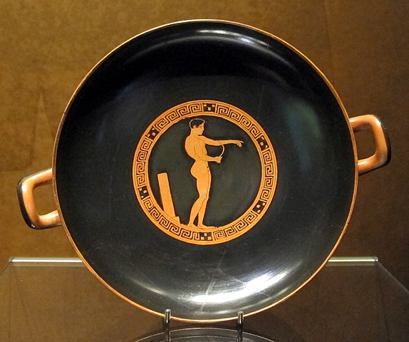 kylix painting of man with strigil (c. 430 BC) – Greek Strigil