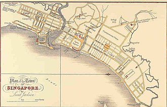 History of Singapore - The Plan of the Town of Singapore, or more commonly known as the Jackson Plan or Raffles Town Plan.