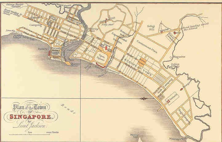 Plan of the Town of Singapore (1822) by Lieutenant Philip Jackson
