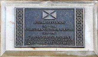 Louisa Stevenson - Plaque to Louisa Stevenson and Christian Guthrie Wright at 5 Atholl Crescent, Edinburgh