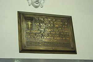 Malcolm Smith (Scottish politician) - Plaque to Sir Malcolm Smith, South Leith Parish Church