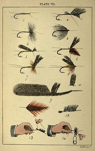 Fly tying - Early color plate showing fly tying steps (1860)