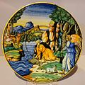 Plate depicting Tobias and the Angel, Urbino, Italy, c. 1550, tin-glazed earthenware - Krannert Art Museum, UIUC - DSC06379.jpg