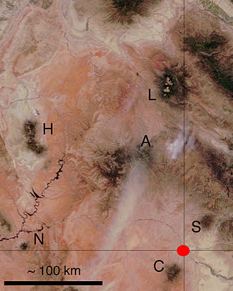La Sal Mountains - Mountain ranges associated with laccoliths and other igneous intrusions on part of the Colorado Plateau. The red dot marks the Four Corners, the intersection of Utah, Colorado, New Mexico, and Arizona. L, La Sal Mountains; A, Abajo Mountains; S, (Sleeping) Ute Mountain; C, Carrizo Mountains; N, Navajo Mountain; H, Henry Mountains.
