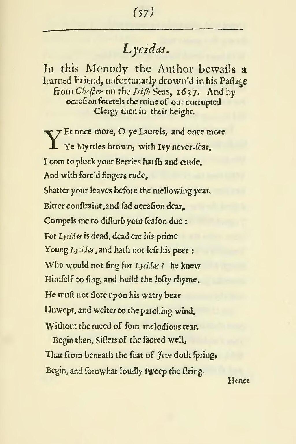 lycidas poem