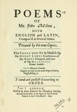 Poems of Mr. John Milton, Both English and Latin, Compos'd at several times.djvu