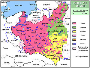 Multiculturalism - Ethno-linguistic map of the Second Polish Republic, 1937.