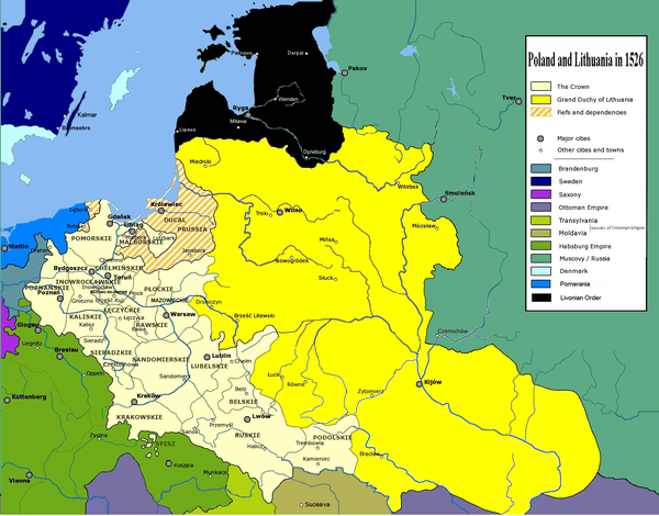 Poland and Lithuania in 1526, before the Union of Lublin Poland and Lithuania in 1526.PNG