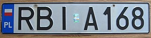 Vehicle registration plates of Poland - Polish license plate from Ustrzyki Dolne