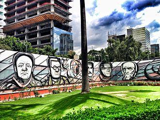 Colonia Nápoles - Image: Polyforum Siquieros portraits of Mexican muralists
