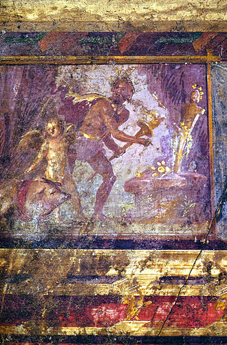 A man prepares the nocturnal sacrifice of a pig to Priapus, with Cupid as the swineherd (wall painting, Villa of the Mysteries) Pompeii - Villa dei Misteri - Room 4.jpg