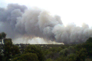 2009–10 Australian bushfire season - Smoke from the Port Lincoln bushfire on 23 December 2009