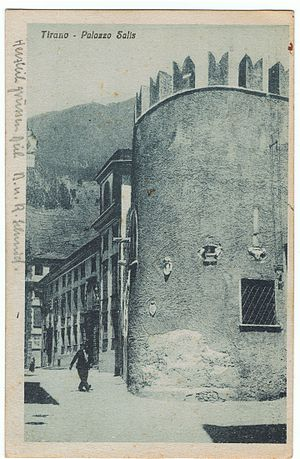 Tirano - Postcard of Palazzo Salis (now Sertoli-Salis), Tirano, Valtelline. Postmarked Lecco to Bern. Franked, 12 June 1911.