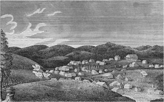 Potosi, Missouri - A view of Potosi published in 1819 by H.R. Schoolcraft, captioned Potosi, alias Mine á Burton