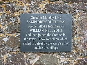 Battle of Sampford Courtenay - Plaque in Sampford Courtenay