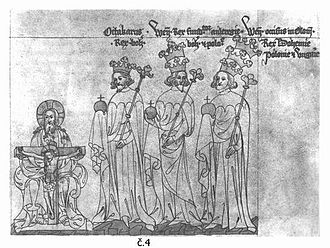Přemyslid dynasty - Přemyslid Kings - Přemysl Ottokar II (one crown), Wenceslaus II (two crowns) and Wenceslaus III (three crowns)