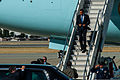 President Barack H. Obama, on the stairs, arrives at Moffett Federal Airfield, Calif., June 6, 2013 130606-Z-HW473-042.jpg