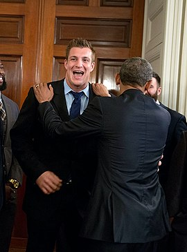President Barack Obama jokes with Rob Gronkowski.jpg