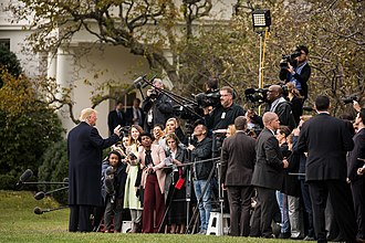 Presidency of Donald Trump - Trump speaks to reporters on the White House South Lawn in November 2018