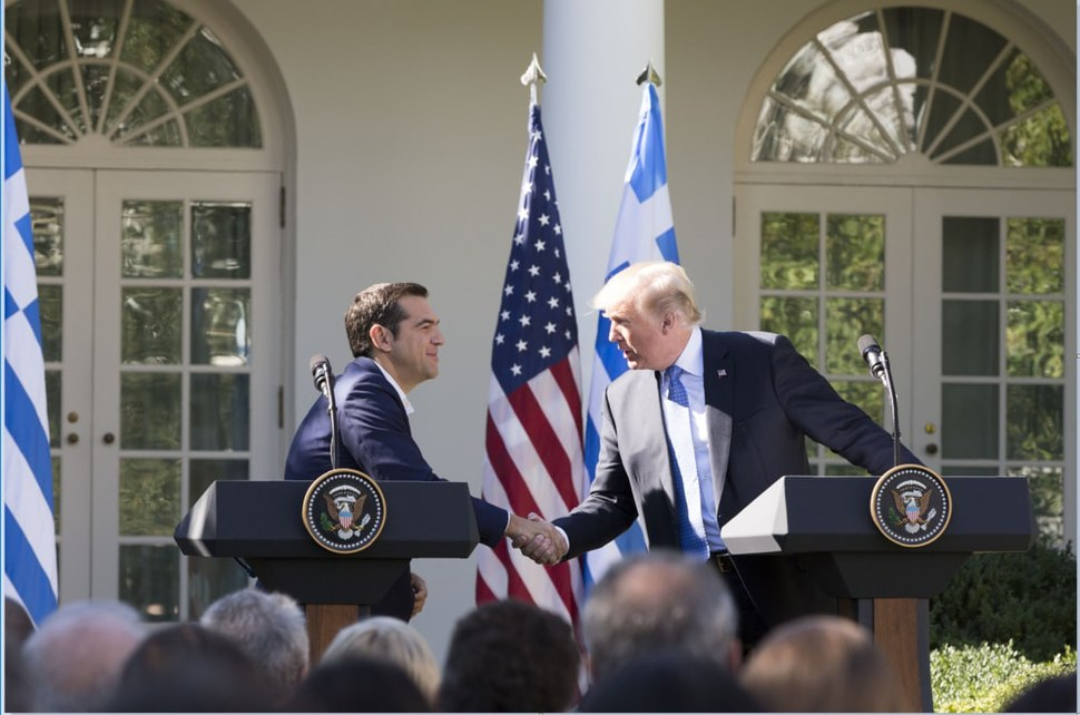 President Donald J. Trump shakes hands with Greek Prime Minister Alexis Tsipras at their joint press conference in the Rose Garden at the White House, Tuesday, October 17, 2017, in Washington, D.C