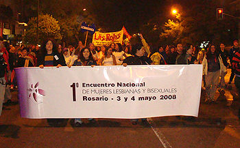 Primera marcha nacional de mujeres lesbianas y bisexuales 2008