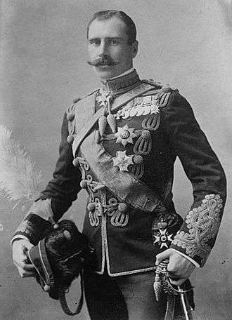 Alexander Cambridge, 1st Earl of Athlone - Prince Alexander of Teck, 28 June 1910, wearing the insignia of the Royal Victorian Order, and the star and sash of the Order of the Rautenkrone