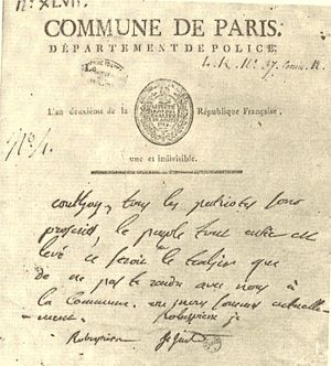 Augustin Robespierre - Proclamation written by Augustin Robespierre and signed by him, Maximilien Robespierre and Couthon calling on the people of Paris to rise up, 10 Thermidor