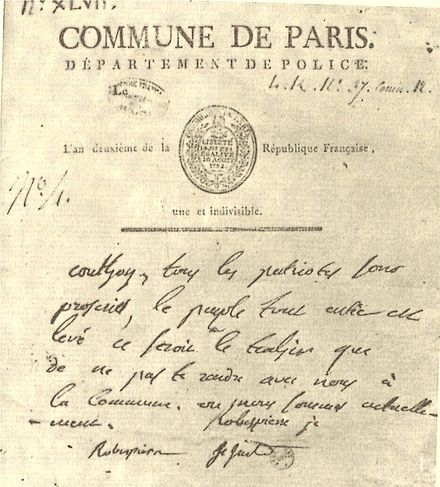 Couthon, who hesitated because of his handicap, was invited by the others after midnight around one. Proclamation Commune de Paris 10 Thermidor An II. Proclamation Commune de Paris 10 Thermidor An II.jpg