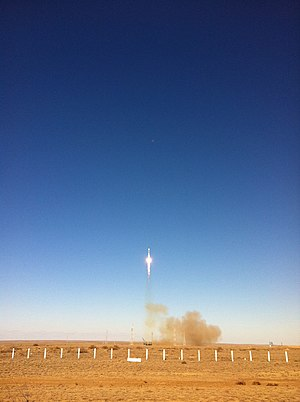 Gagarin's Start - Image: Progress M 13M rocket launches from Gagarin's Start