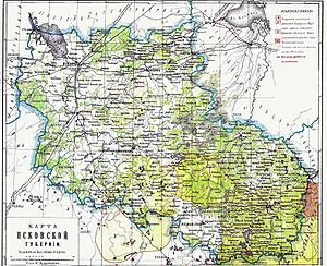 Pskov Governorate - Map of Pskov Governorate, ca 1900