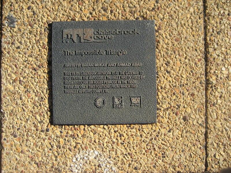 File:Public art - Impossible Triangle, Claisebrook plaque1.jpg