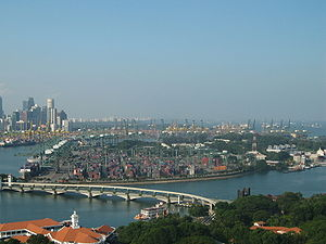 Pulau Brani - Pulau Brani lies to the right of the Keppel Harbour, as seen in this view from Sentosa's Tiger Sky Tower