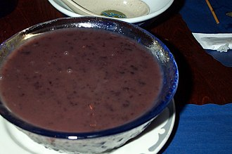 Rice pudding - Pulut hitam served in a Malaysian restaurant