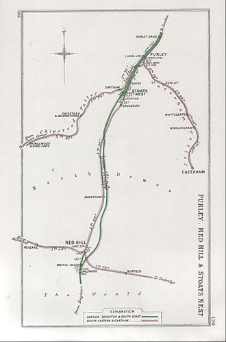 Caterham railway station - A 1905 Railway Clearing House map of lines around Caterham railway station.