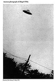 A purported 1952 photo of a UFO over Passaic, New Jersey, from an FBI document.
