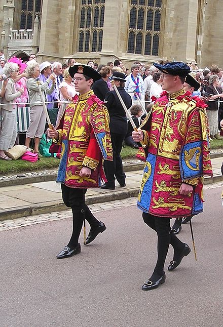 Two pursuivants wearing tabards, Windsor Castle, 2006.